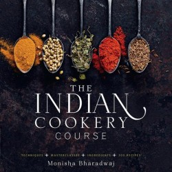 Monisha Bharadwaj 'The Indian Cookery Course ' Signed Copy & Spice Tin, 10 Spices & Handmade Silk Sari Wrap